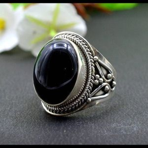 NWT Sterling Silver Onyx Colored Stone Ring Size 6